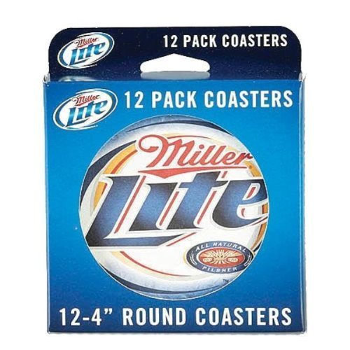 Miller Lite 12Pack 4Inch Round Coasters by
