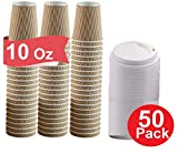 1InTheHome 10 Oz Coffee Cups With Lids. Disposable Insulated Ripple Wall Paper Hot Cups with Lids (50 pack)