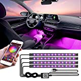 LED Interior Car Lights, App Controlled Car Interior Lights with USB Port, Multicolor Car LED Lights Interior as Ambient Lights, Music Sync Interior LED Lights for Cars with Sound Active Function