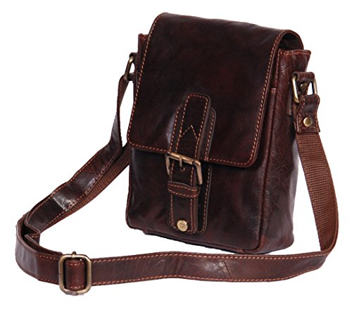 A1 FASHION GOODS Mens cuir véritable Cross Body Sac Messenger épaule Voyage Casual style vintage Sac A120 Brun