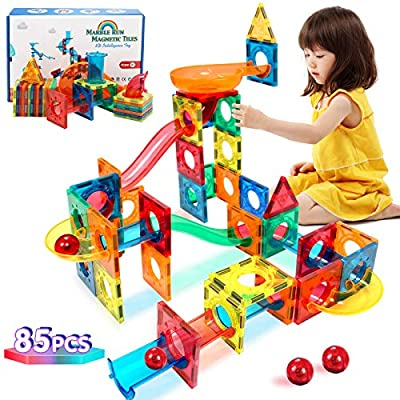 Landtaix Magnetic Tiles 85 Pcs Pipe Magnetic Blocks Toys for Kids 3D Clear Magnets Kits STEM Toys Marble Run Building Blocks Set for 3 4 5 6 7 8+ Year Old Boys & Girls Gifts by Landtaix