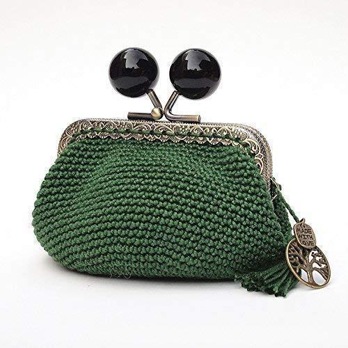 Monedero de estilo vintage de mujer con boquilla tejido en ganchillo verde oscuro