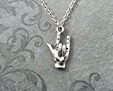 I Love You Necklace Very Small Sign Language Necklace I Love You Hand Necklace Silver Necklace Deaf Awareness Deaf Gift Hearing Impairment