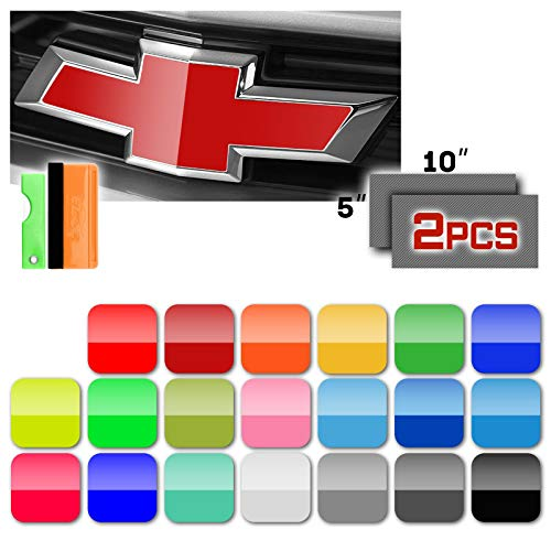 Free Tool Kit 2Pcs 5'x10' Chevy Emblem Bowtie Gloss Black Vinyl Wrap Sticker Decal Film Overlay Sheet