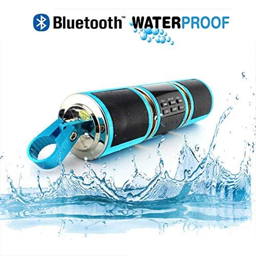 TYXS Bluetooth Lautsprecher for Motorrad, wasserdichte Stufe 4, Unterstützung MP3-Player Audio FM Radio USB/TF/AUX-Eingang, Geeignet für das Motorradfahren im Freien,Blau