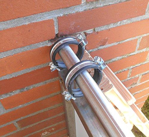 Jennys Tiershop 3 Meter! Katzenleiter/Katzentreppe mit 2 Verbindungsstücken für Balkon, Mit Gummischellen. extra 21 cm Breit! Douglasie (7e)