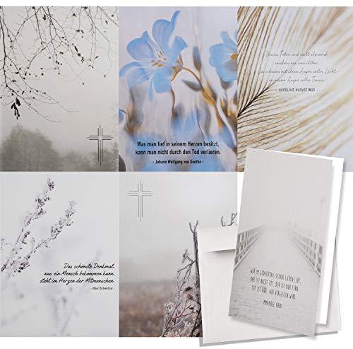 6er Set würdevolle Beileidskarten mit Umschlag I DIN A6 I Trauerkarten Kondolenzkarten modern I hochwertig I Naturmotive dv_496
