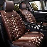 KBZW - Funda para asiento de coche, delantero y trasero de cinco plazas, juego completo universal de piel de seda de hielo compatible con protectores de asiento de airbag (color marrón)