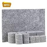 TYEERS Almohadillas de Fieltro Adhesivas para Muebles - Set de 98 Almohadillas para Protección del Suelo - Protectores de Fieltro Gris