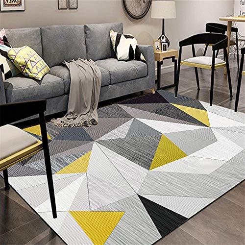 DJHWWD Hygroscopisch tapijt, klassiek driehoekig geel patroon, anti-vuil, woonkamertapijt, anti-slip tapijt, wateropnemend, duurzaam