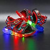 JYSD Sandalias de luz LED para niños y niños, con luz luminosa, zapatos de verano para caminar (tamaño: 28, color: A-Red)