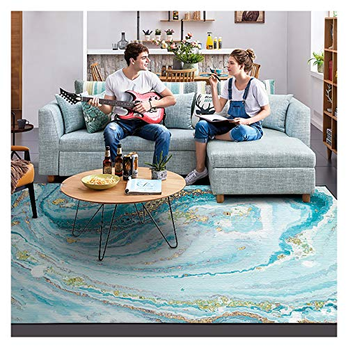 GJCC Carpets Abstract Area Rugs for Living Room Bedroom Rug Carpets, Indoor Home Decor Accen Floor Rug, Blue,A,2.5