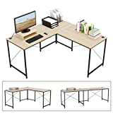 Bestier L-Shaped Computer Desk, 95.5' Two Person Large Gaming Office Desk, Adjustable L-Shaped or Long Desk Two Method with Free Monitor Stand, Home Writing Desk Table Build-in Cable Management (Oak)