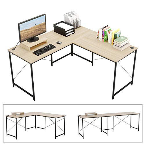 "Bestier L-Shaped Computer Desk, 95.5"" Two Person Large Gaming Office Desk, Adjustable L-Shaped or Long Desk Two Method with Free Monitor Stand, Home Writing Desk Table Build-in Cable Management (Oak)"