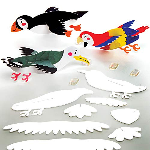 Baker Ross Pájaros Planeadores para Colorear, Juguetes voladores para niños (paquete de 10)