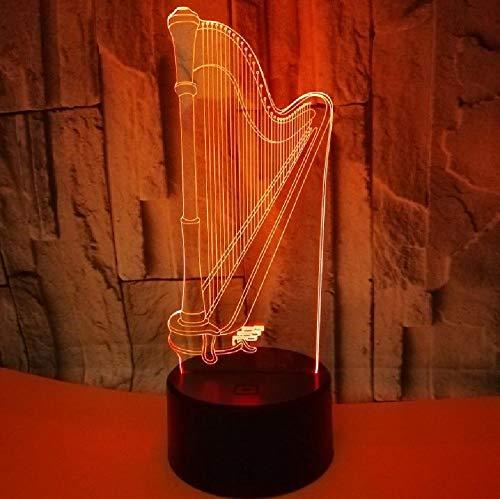 Lámpara De Arpa 3D Regalo Colorido Atmósfera Regalo 3D Pequeño Led Interruptor Táctil De Luz Nocturna Encantadora 7 Cambio De Color Lámpara 3D