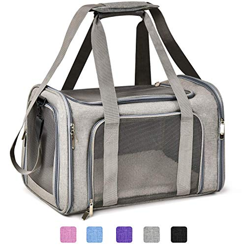 Henkelion Cat Carriers Dog Carrier Pet Carrier for Small Medium Cats Dogs Puppies up to 15 Lbs, TSA Airline Approved Small Dog Carrier Soft Sided, Collapsible Waterproof Travel Puppy Carrier - Grey