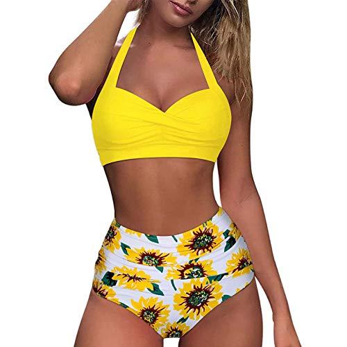 MINYING Femme Bikini 2 Pièces Ensemble, Halter Maillot de Bain Push up Gainant Bikinis Pas Cher Sexy Plissé Ruched Mid Waisted Bas Plage Swimsuit Tenue de Plage Bandeau