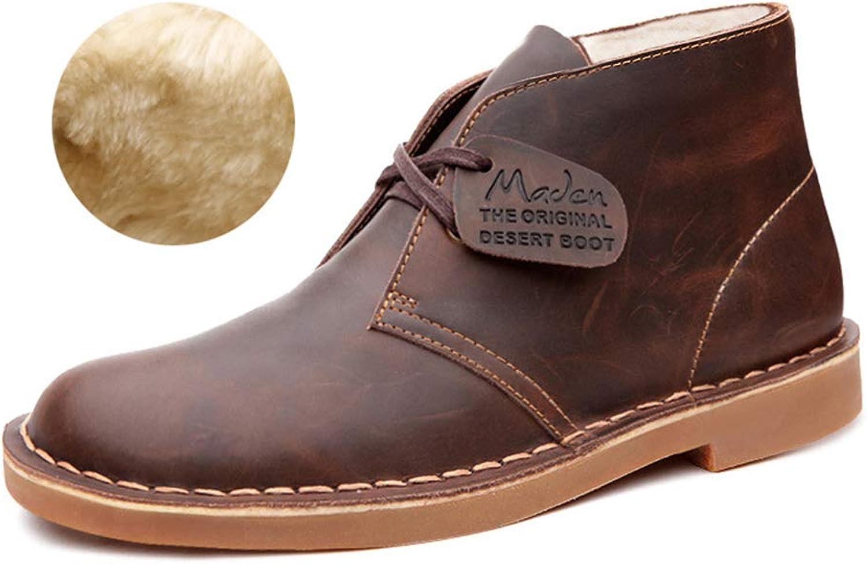 Men's Martin Boots Plus Velvet Snow Boots Desert Tooling Men shoes Fall Winter Lace-Up Leather Boots Non Slip Wear-Resistant (color   A, Size   38)