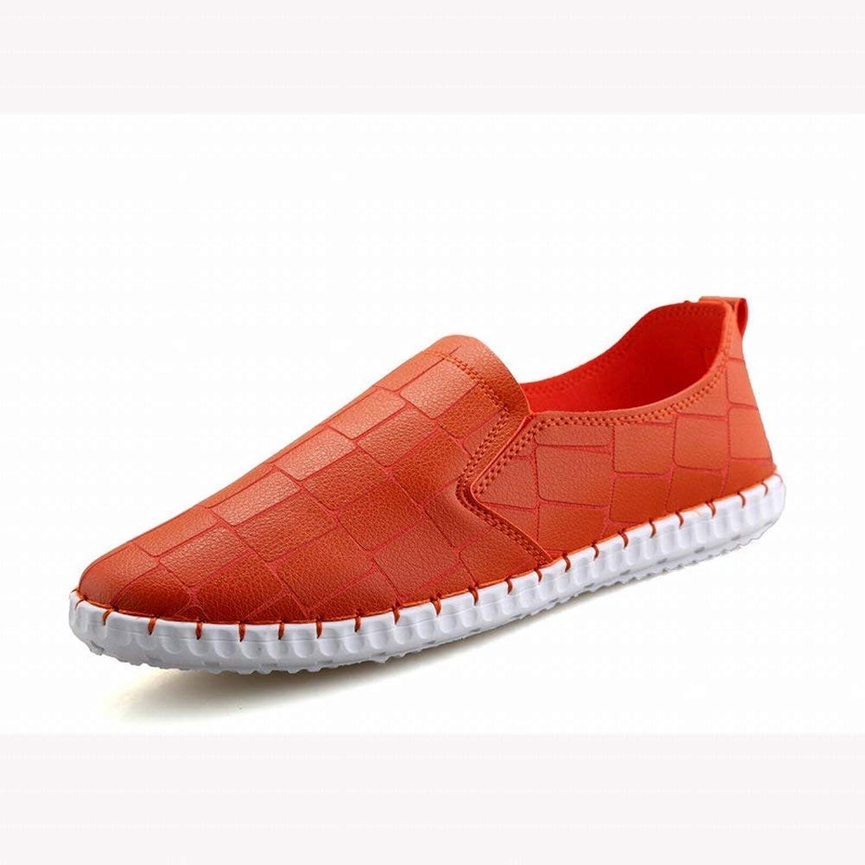 Mens Peas shoes Simple Trend Sets Casual Men's shoes (color   orange, Size   39)
