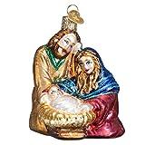 Adorno de cristal de Navidad de Old World con gancho en S y caja de regalo, otros adornos (familia sagrada)