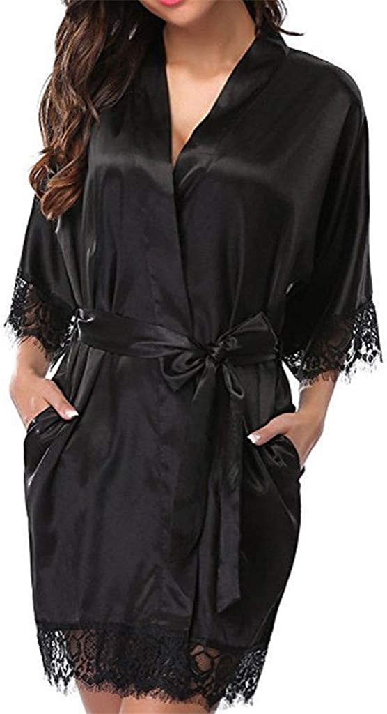 Niceful Women's Lingerie Plus Size Lace Babydoll Kimono Sleepwea