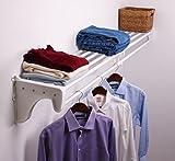 EZ Shelf Expandable Closet Shelf & Rod with 1 End Bracket, 41' - 74', MOUNTS to 1 Side Wall and Back Wall, White