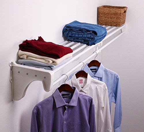 "EZ Shelf DIY Expandable Closet Shelf & Rod - 29"" - 49"" - White - Mounts to 1 Sidewall and Backwall with 1 End Bracket -Easy to Install-Strong-Wire Shelving Alternative-Rod & Shelf Kit (EZS-SCRW48-1-1)"