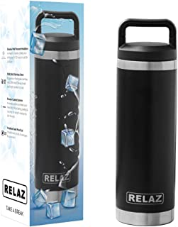 RELAZ Powder Coated 18/8 Stainless Steel, Double Wall Vacuum Insulated Thermos Water Bottle with handle - Black color 16oz