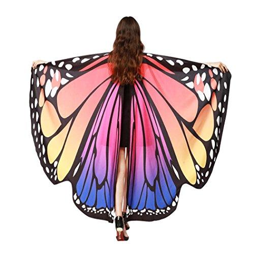 Kobay-Damen ??schmetterling kostüm, KOBAY Frauen Weiches Gewebe Schmetterlingsflügel Schal Fee Damen Nymph Pixie Kostüm Zubehör für Show/Daily/Party (168 * 135CM, Heiß Rosa)