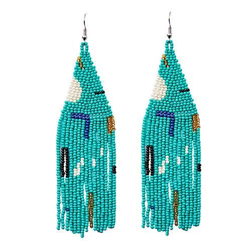 Luluping Long Beaded Dangle Earrings – Boho Native Handmade Seed Bead Tassel Earrings for Women, Bohemian Large Statement Beaded Drop Fringe Earrings (Green Beaded Earrings)