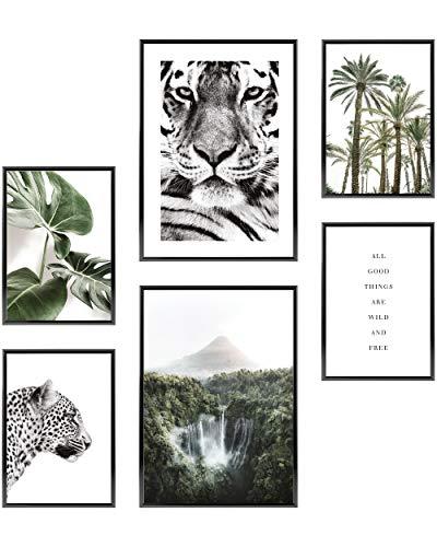 Heimlich® Premium Poster Set OHNE Bilderrahmen   Stilvolles Set mit passenden Bilder als Wohnzimmer Deko   2 x DIN A3 & 4 x DIN A4 - ca. 30x42 & 21x30   » Natur Wald Wasserfall «