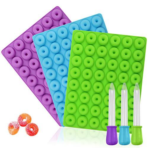YuCool Mini-Donut-Silikonform, Antihaftbeschichtung, lebensmittelechtes Silikon, für Süßigkeiten, Schokolade, Gelee, Eiswürfel, mit 3 Pipetten, Blau, Grün, Violett, 3 Stück