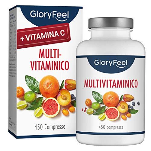 GloryFeel Integratore Multivitaminico e Multiminerale | 450 Compresse (Scorta per 1+ Anno) | Vitamine A,B,C,D3,E, Calcio, Zinco, Selenio | Vitamine e Minerali per Uomini e Donne