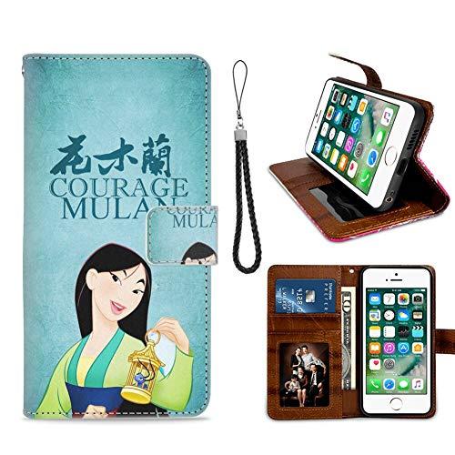 DISNEY COLLECTION Funda tipo cartera para iPhone 7/8 Plus Hua Mulan Diseño Patrón Tarjeta de Crédito Cierre Magnético Flip Cover Función de Soporte Caso de Cuero Sintético
