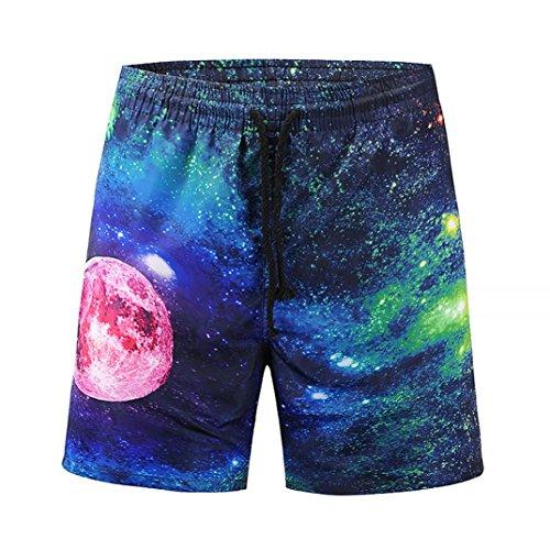 Heren broek zomervakantie 3D Sky Star Printed Grappig strandwerk losse casual mannen korte broek persoonlijkheid tieners jongens shorts broek