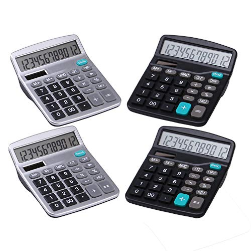 LICHAMP Desk Calculators with Big Buttons and Large Display, Office Desktop Calculator Basic 12 Digit with Solar Power and AA Battery (Included), 4 Bulk Pack