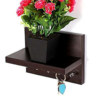 Bluewud Skywood Wall Mounted Key Holder / Key Rack Hooks with Decor Shelf (Wenge, 5 Keys, With Shelf)