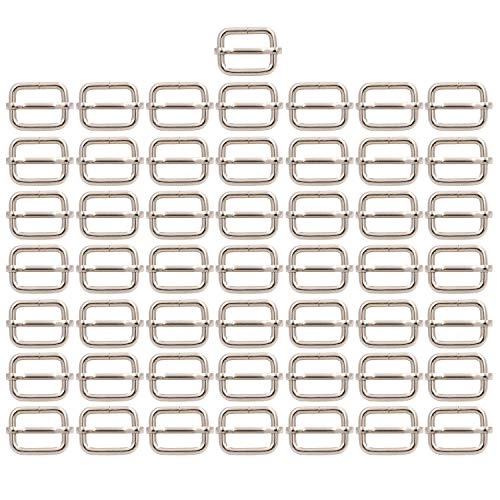 BIKICOCO Metal Slide Adjuster Buckle Tri-Glides with Movable Center Bar, for Straps, 0.6 x 0.51 Inch, Silver, Pack of 50