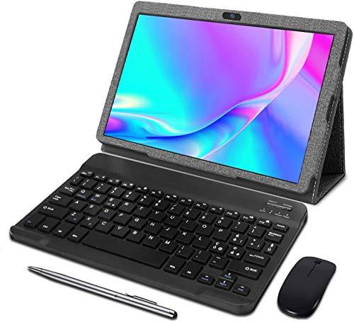 Tablet 10 Pollici - Android 10.0 Certificato da Google GMS Tablet 4G LTE,3 GB di RAM e 32 GB, Doppia SIM,GPS,WiFi,Ttastiera Bluetooth,Mouse,Custodia per Tablet e Altro Incluso - Grigio