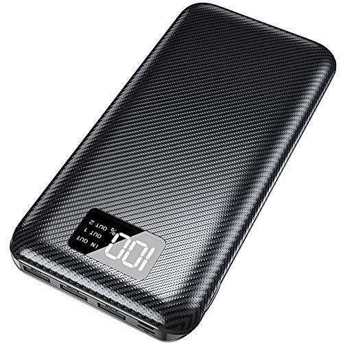 KEDRON Powerbank 24000mAh Externer Akku mit USB C&Micro 2 Eingänge und 3 Ausgänge Power Bank Handy für Smartphones, Tablett-Schwarz