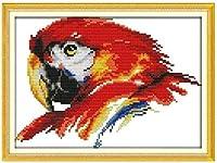 大人のための刻印されたクロスステッチキット初心者ビッグカラーオウム11CTプレプリント用品フルレンジDIYニードルポイント手工芸品子供の家の装飾16x20インチ