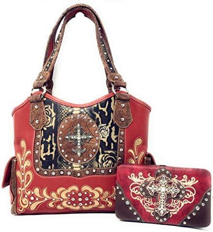 Texas West Women s Rhinestone Cross Shoulder Handbag Purse Wallet in 6 Colors Red product image