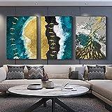 HJKLP Pintura de la Ola del océano Dorado Impresión de Lienzo Arte de la Pared Cartel de periódico Moderno Pintura Abstracta Cuadros de Decoracion de la Salon de Estar 50x70cmx3 sin Marco