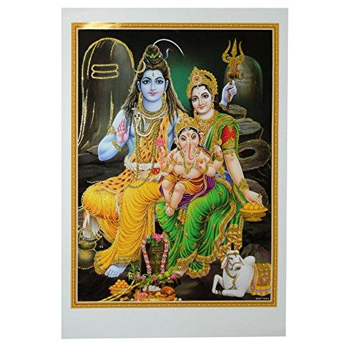 Bild Shiva & Parvati mit Ganesha 50 x 70 cm Gottheit Hinduismus Kunstdruck Plakat Poster Gold Indien Hochglanz Dekoration