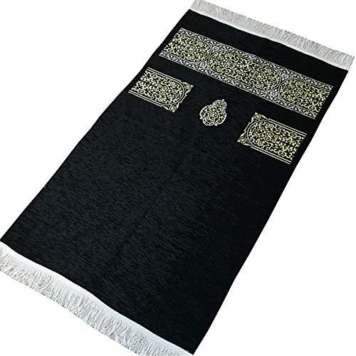K'ba Gebetsteppich, groß, muslimische Gebetsmatte, bestickt, Janamaz, Größe: 125 x 70 cm, Schwarz
