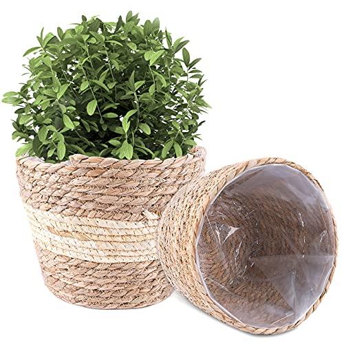 Herefun Set 2 Cestas de Plantas 22cm x 15cm, Macetas de Flores Hierba, Cesta Tejida Jardineras Natural, Cesta Mimbre Cesta de Almacenamiento para Plantas Interior y Exterior (A)