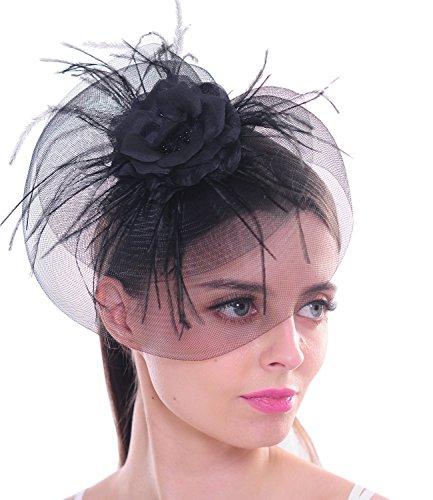 FAYBOX BRIDAL FAYBOX BRIDAL Schwarze Feder Fascinator Silk Blumen Mesh Netz Haarclip