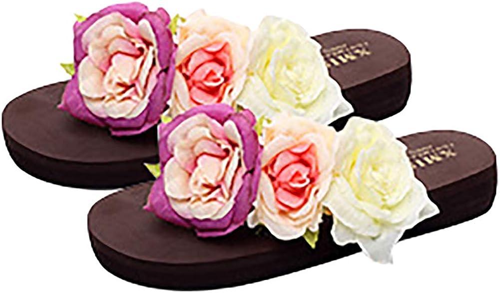 QZUnique Womens Platform Wedge Flip-Flops Flower Beach Sandals Fashion Slippers Low-Heel Summer Thong