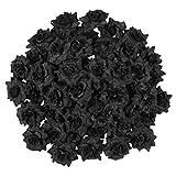 LUOEM Pétalos de rosa artificiales de seda de color negro para sombrero de boda, ropa, álbum de 50 unidades